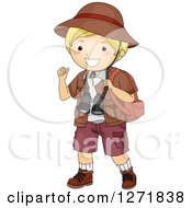 Clipart Of A Blond White Safari Boy Gesturing Over His Shoulder Royalty Free Vector Illustration