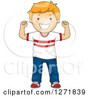 Clipart Of A Strong Red Haired White Boy Flexing His Arms Royalty Free Vector Illustration
