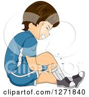 Clipart Of A Brunette White Boy Holding His Cramping Leg Royalty Free Vector Illustration by BNP Design Studio