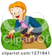 Clipart Of A Happy Red Haired White Girl Picking Ground Berries Royalty Free Vector Illustration by BNP Design Studio