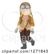 Clipart Of A Happy Blond White Girl Dressed In A Steampunk Costume Royalty Free Vector Illustration