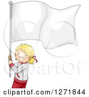 Clipart Of A Happy Blond Sporty Girl With A Blank Flag Royalty Free Vector Illustration