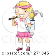 Clipart Of A Happy Blond White Girl With A Golf Bag Royalty Free Vector Illustration