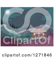 Clipart Of A Cabin In The Woods With Tall Grasses And A Full Moon Royalty Free Vector Illustration