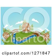 Clipart Of A Globe With A Cabin Village Bridges And A River Royalty Free Vector Illustration