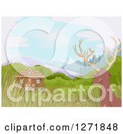 Clipart Of A Rear View Of A Der Watching A Hunting Cabin Royalty Free Vector Illustration