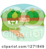 Clipart Of A Lake Front Cabin With A Dock Table And Chairs Royalty Free Vector Illustration