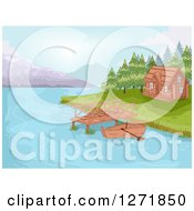 Clipart Of A Boat And Dock By A Lakefront Cabin Royalty Free Vector Illustration by BNP Design Studio