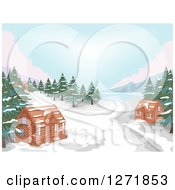 Clipart Of A Lake With Evergreens Snow And Winter Cabins Royalty Free Vector Illustration