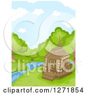 Clipart Of A Log Cabin Beside A Stream In The Woods Royalty Free Vector Illustration by BNP Design Studio