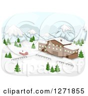 Clipart Of A Mountainous Ski Lodge And Snow Royalty Free Vector Illustration