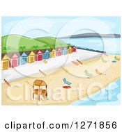 Clipart Of A Beach With A Lifeguard Stand Chaise Lounges And Cabins Royalty Free Vector Illustration