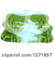 Clipart Of A Lush River Basin And Evergreen Trees Royalty Free Vector Illustration