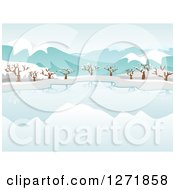 Clipart Of A Still Frozen Lake And Bare Trees With Snow And Mountains Royalty Free Vector Illustration