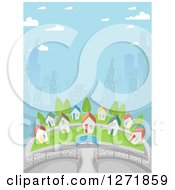 Clipart Of A Village Of Small Homes Against City Skyscrapers Royalty Free Vector Illustration