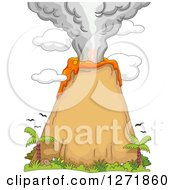 Clipart Of A Volcanic Eruption With Birds And Palm Trees Royalty Free Vector Illustration