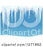 Clipart Of Frozen Winter Icicles Over Blue Royalty Free Vector Illustration by BNP Design Studio