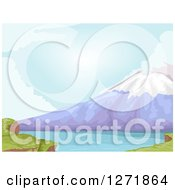 Clipart Of A Lake At The Base Of Mt Fuji In Japan Royalty Free Vector Illustration