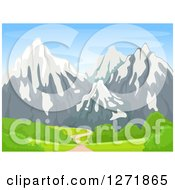 Clipart Of A Path Leading To Snow Capped Mountains Royalty Free Vector Illustration