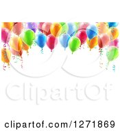 Clipart Of A 3d Arch Of Colorful Birthday Party Balloons Over Text Space Royalty Free Vector Illustration by AtStockIllustration