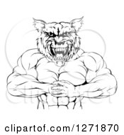 Clipart Of A Black And White Tough Muscular Wolf Man Punching His Fist Into His Hand Royalty Free Vector Illustration