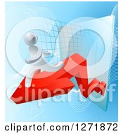 Poster, Art Print Of 3d Silver Businessman Running On A Red Arrow Off Of A Chart