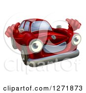 Clipart Of A Red Car Holding Two Thumbs Up Royalty Free Vector Illustration