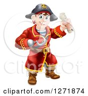 Happy Young Male Pirate Captain With A Hook Hand Holding A Rolled Treasure Map