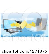 Clipart Of A 3d Desktop Computer Moving Files To An Open Vault Safe Over A Map Royalty Free Vector Illustration by AtStockIllustration
