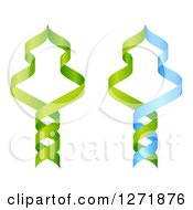 Clipart Of A Green And Blue DNA Double Helix Strands Forming Trees Royalty Free Vector Illustration by AtStockIllustration