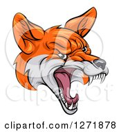 Clipart Of A Mad Fox Face Royalty Free Vector Illustration