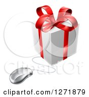 Clipart Of A 3d Gift Box With A Red Bow Wired To A Computer Mouse Royalty Free Vector Illustration