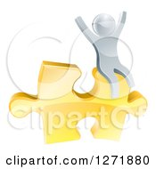 Clipart Of A 3d Successful Silver Man Cheering And Sitting On A Golden Puzzle Piece Royalty Free Vector Illustration