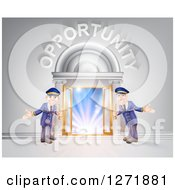 Clipart Of A Venue Entrance With Welcoming Doormen And Opportunity Text Over Light Royalty Free Vector Illustration by AtStockIllustration