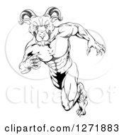 Clipart Of A Black And White Clawed Muscular Ram Monster Man Running Upright Royalty Free Vector Illustration