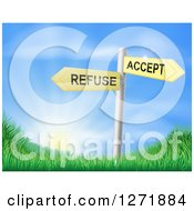 Clipart Of 3d Yellow Accept Or Refuse Arrow Signs Over Grassy Hills And A Sunrise Royalty Free Vector Illustration
