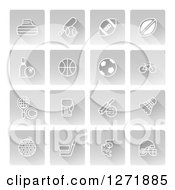 Clipart Of White Sports Icons On Gray Square Tiles Royalty Free Vector Illustration by AtStockIllustration