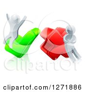 Clipart Of 3d Right And Wrong Silver Men Cheering And Pouting With X And Check Marks Royalty Free Vector Illustration