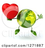 Clipart Of A 3d Green Earth Character Jumping And Holding A Heart Royalty Free Illustration