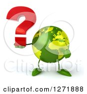 Clipart Of A 3d Green Earth Character Holding And Pointing To A Question Mark Royalty Free Illustration
