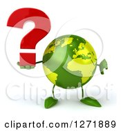 Clipart Of A 3d Green Earth Character Holding A Question Mark And Thumb Down Royalty Free Illustration
