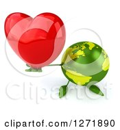 Clipart Of A 3d Green Earth Character Holding Up A Heart Royalty Free Illustration