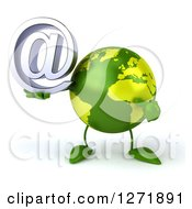 Clipart Of A 3d Green Earth Character Holding And Pointing To An Email Arobase Symbol Royalty Free Illustration