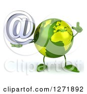 Clipart Of A 3d Green Earth Character Holding Up A Finger And Email Arobase Symbol Royalty Free Illustration