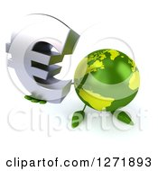 Clipart Of A 3d Green Earth Character Holding Up A Euro Symbol Royalty Free Illustration