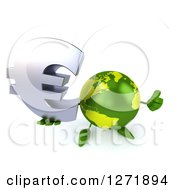 Clipart Of A 3d Green Earth Character Holding Up A Thumb And Euro Symbol Royalty Free Illustration