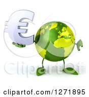Clipart Of A 3d Green Earth Character Holding A Euro Symbol And Thumb Down Royalty Free Illustration