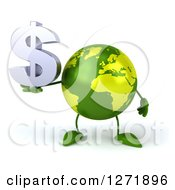 Clipart Of A 3d Green Earth Character Holding A Dollar Symbol Royalty Free Illustration