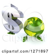 Clipart Of A 3d Green Earth Character Holding Up A Dollar Symbol Royalty Free Illustration