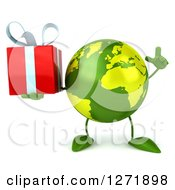 Clipart Of A 3d Green Earth Character Holding Up A Finger And A Gift Royalty Free Illustration